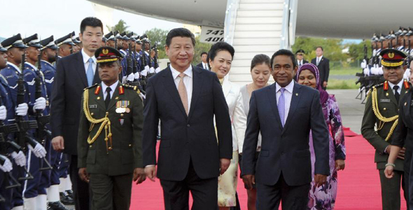 Chinese president arrives in Maldives for state visit