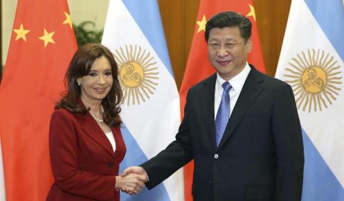 Chinese President Xi Jinping meets Argentine President Cristina Fernandez de Kirchner
