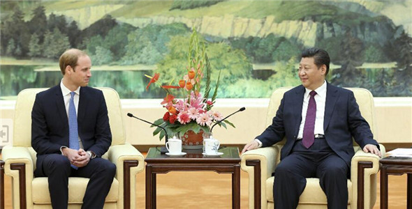 Chinese President Xi Jinping meets with Britain's Prince William