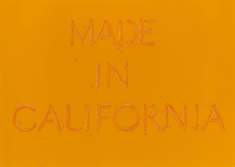 埃德·拉斯查(生于1937年),《加利福利亚制造》(Made in California),彩色平板印刷,创作于1971年。版权所有:埃德·拉斯查。经该艺术家同意复制。