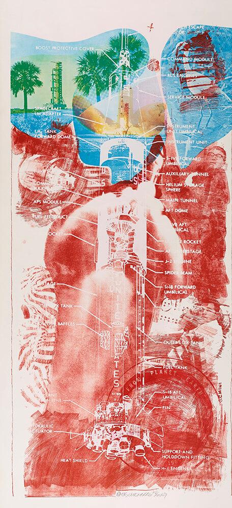罗伯特·劳森伯格(1925年-2008年),《Sky Garden from Stoned Moon》,彩色平板印刷和丝网版画,创作于1969年。版权所有:罗伯特·劳森伯格基金会(Robert Rauschenberg Foundation)/伦敦设计与艺术家版权协会(DACS)/纽约视觉艺术家和画廊联合会(VAGA)。
