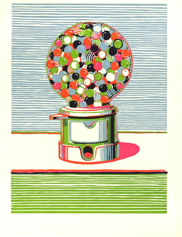 伟恩·第伯(Wayne Thiebaud,生于1920年),《口香糖球售卖机》(Gumball Machine),丝网版画,创作于1970年。版权所有:伟恩·第伯/伦敦设计与艺术家版权协会(DACS)/纽约视觉艺术家和画廊联合会2016年。
