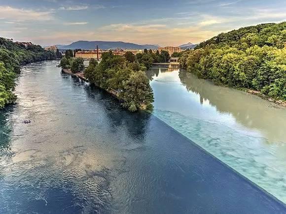 瑞士日内瓦罗纳河和阿尔沃河汇合