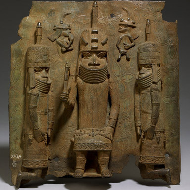 大英博物馆贝宁饰板:奥巴与欧洲人