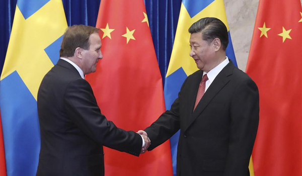Chinese President Xi Jinping meets with Swedish Prime Minister Stefan Lofven