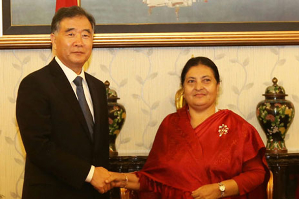 President and Prime Minister of Nepal Meet with Wang Yang