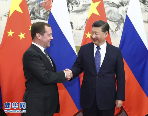 Xi Jinping Meets with Prime Minister Dmitry Medvedev of Russia