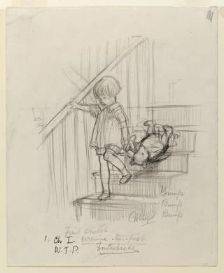 《嘭,嘭,嘭》(Bump, Bump, Bump),谢泼德所作铅笔画,来自《小熊维尼》第1章,1926年。版权归谢泼德信托所有,经柯提斯·布朗许可复制。
