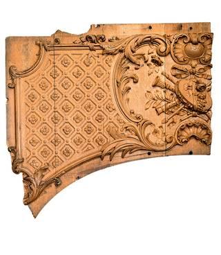 泰坦尼克号头等舱休息厅中的木质嵌板碎片,约1911年。版权归加拿大新斯科舍哈利法克斯大西洋海事博物馆(Maritime Museum of the Atlantic, Halifax, Nova Scotia, Canada)所有。