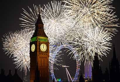 伦敦跨年烟花表演