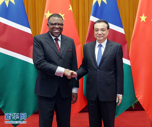Li Keqiang Meets with President Hage Geingob of Namibia