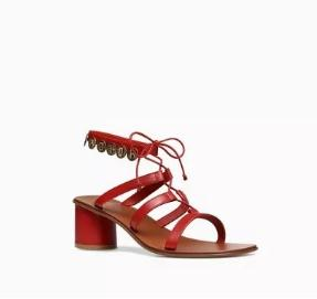Dior红色镂空粗跟凉鞋