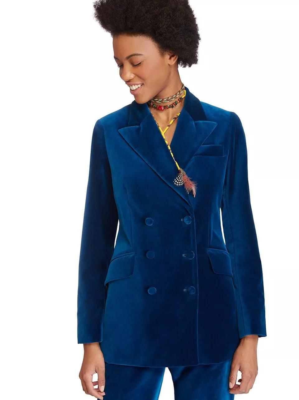 Etro宝蓝丝绒西装外套