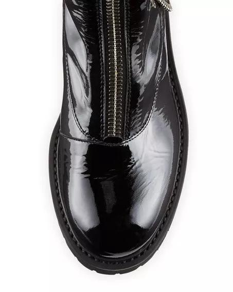 Chanel中长款亮面马丁靴