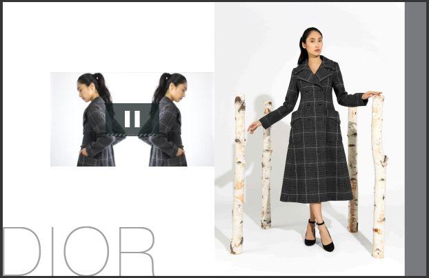 Dior灰色格纹大衣