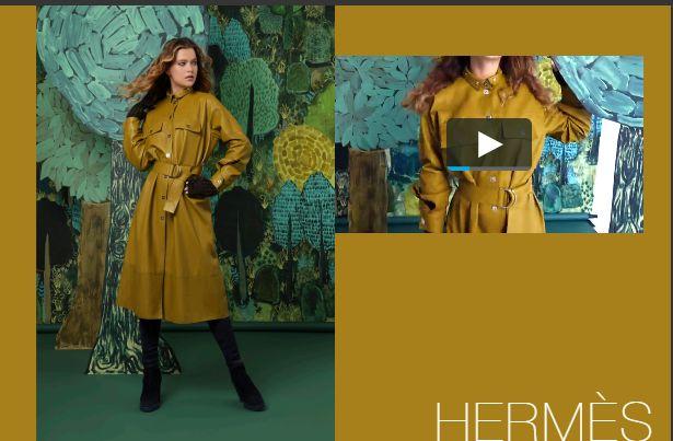 Hermès橄榄绿皮革风衣