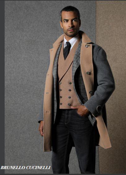 Brunello Cucinell男士双色排扣大衣