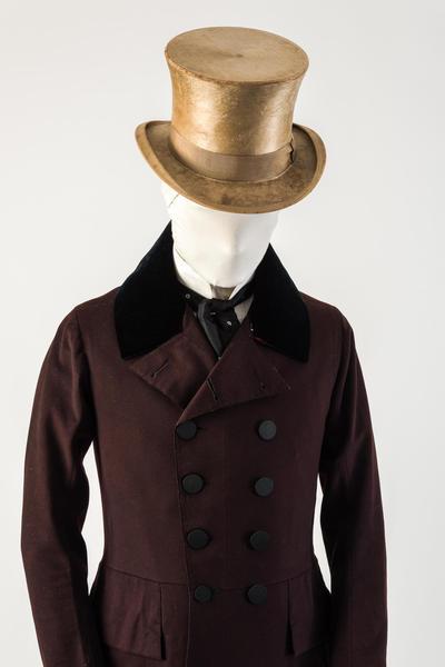 男士浅棕色海狸毛皮礼帽,1850年代