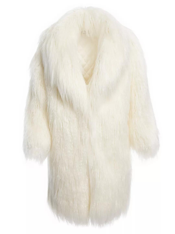 Alice+Olivia白色毛皮大衣