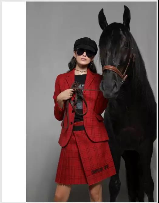 Dior红色细格纹套装