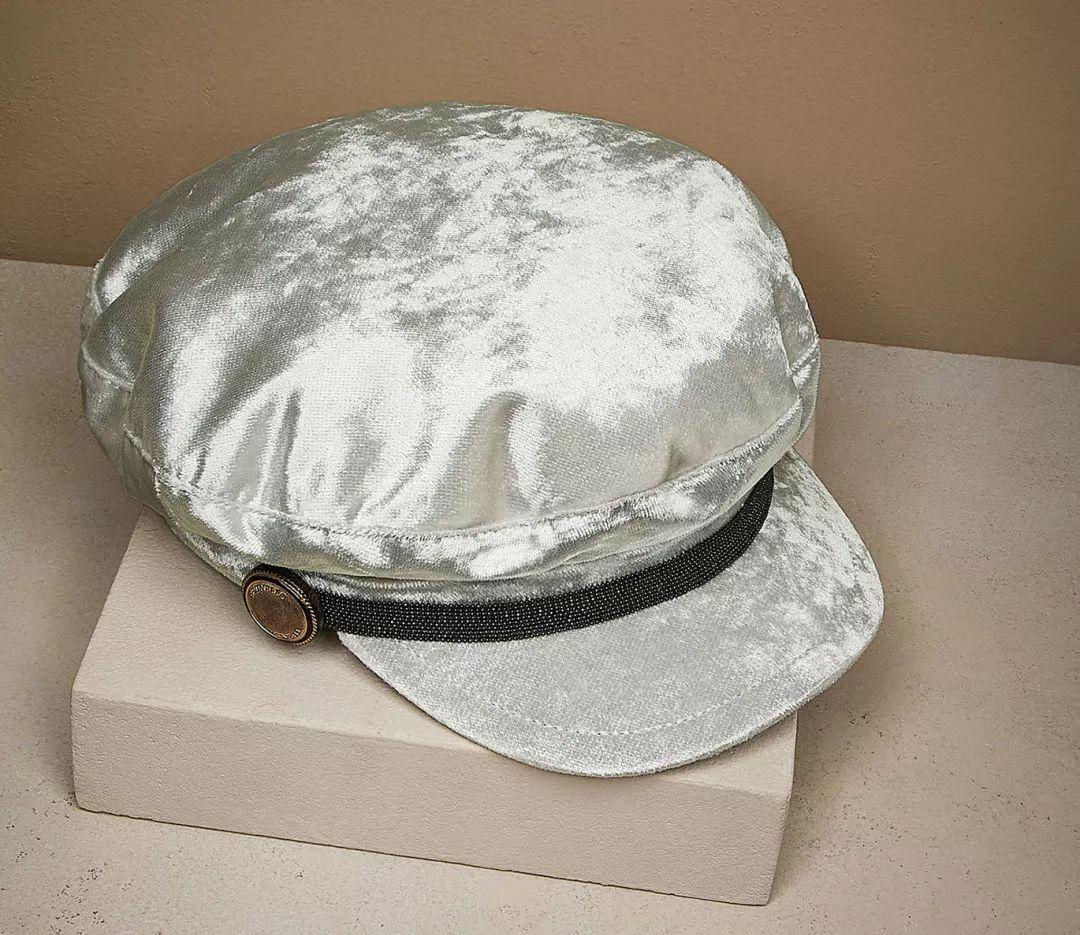 Brunello Cucinelli 细闪银色亮片报童帽
