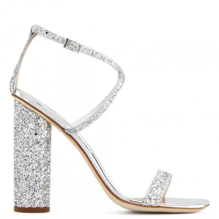Giuseppe Zanotti 银色细带高跟鞋
