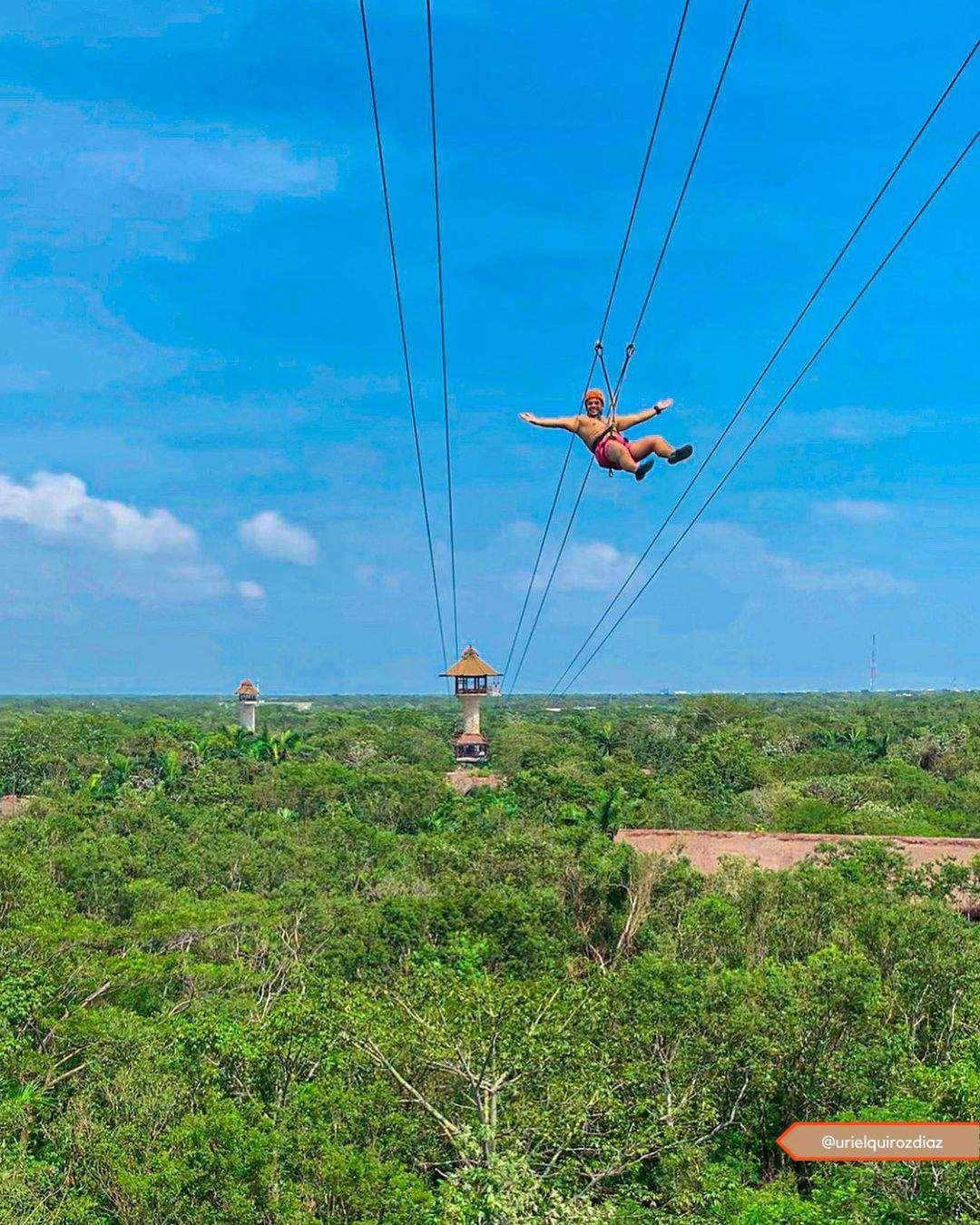 墨西哥坎昆Xplor西普洛公园高空滑索