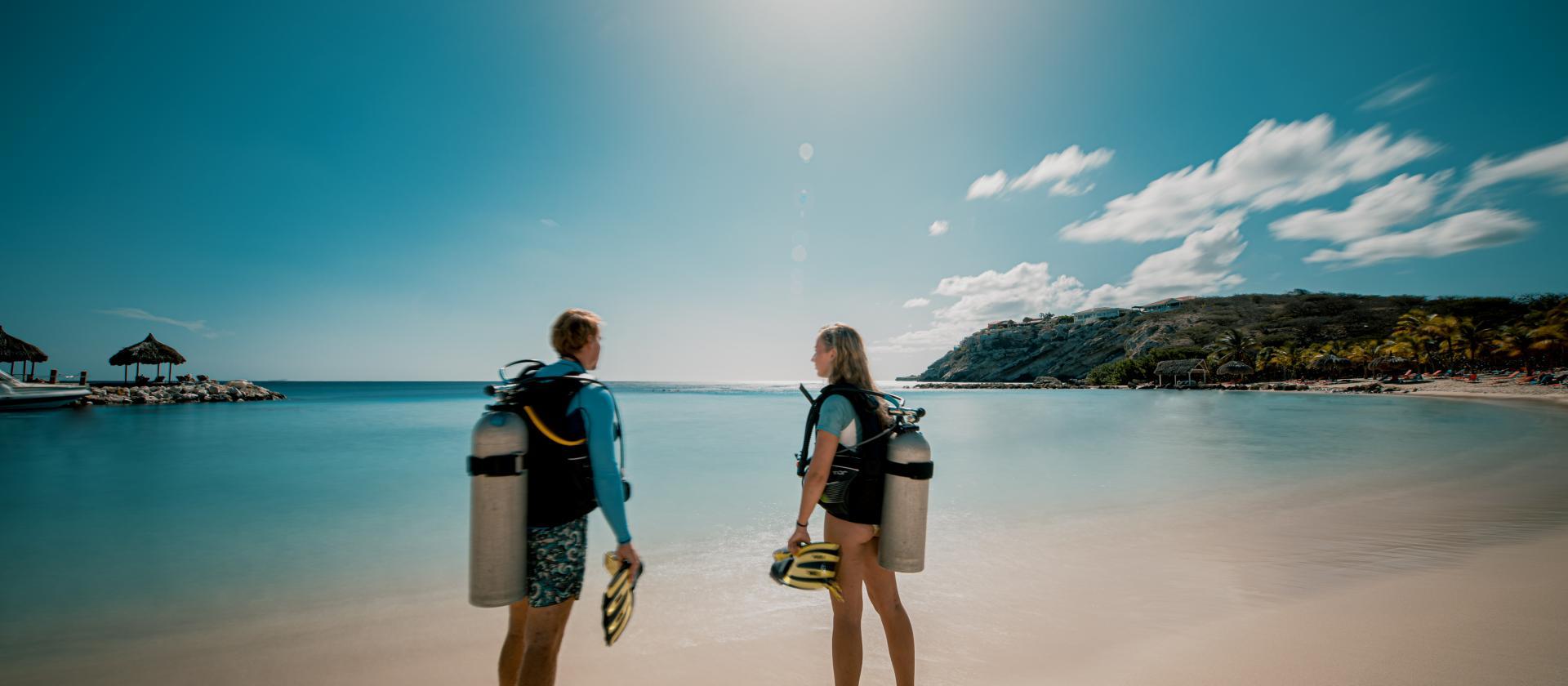加勒比海岛库拉索蓝湾海滩潜水